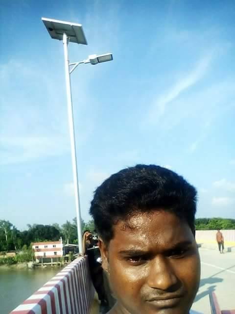 Solar street light install on the top of bridge railing_ Mohadevpur in Naogaon